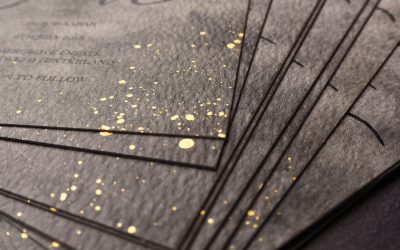 Stormy wedding invitations with gold hand speckles