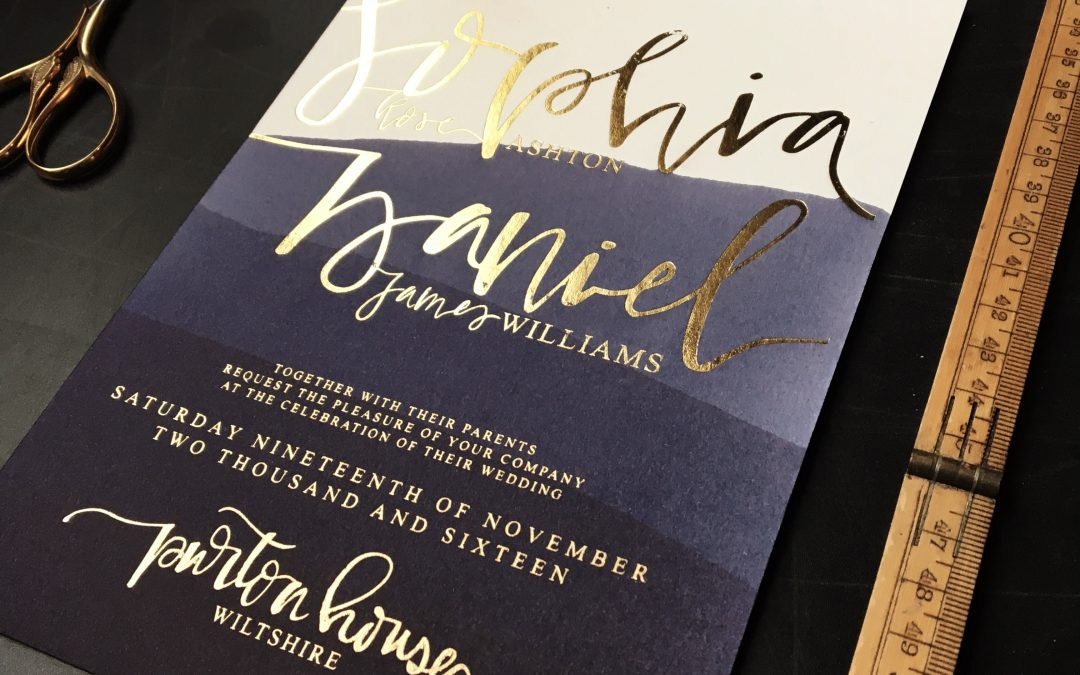 Navy and gold, nautical and celestial wedding stationery